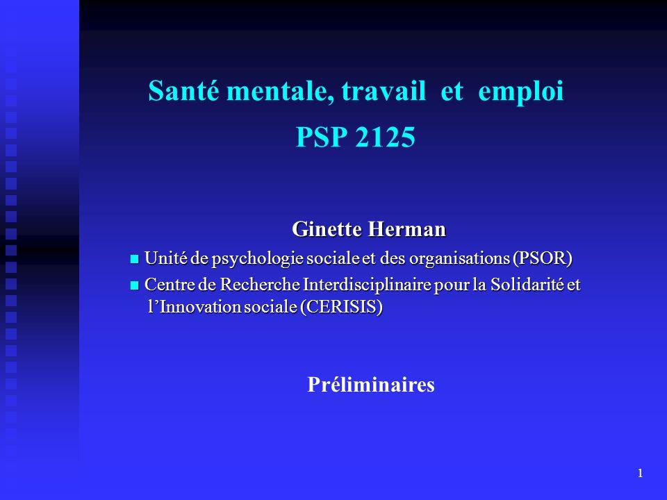 Santé mentale, travail et emploi PSP 2125