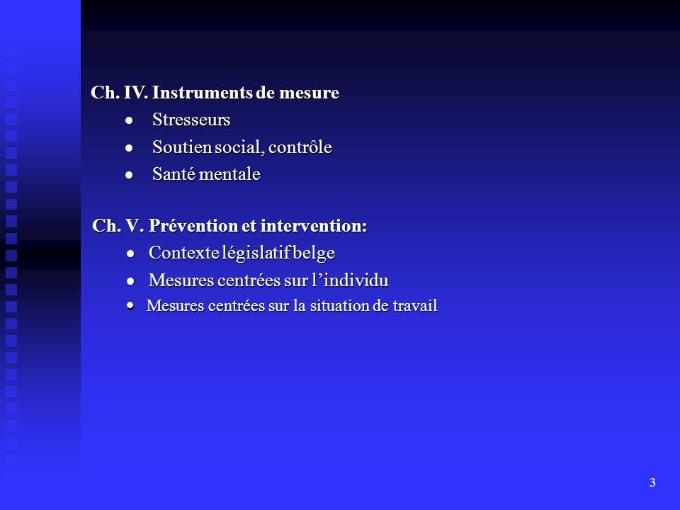 Ch. IV. Instruments de mesure · Stresseurs · Soutien social, contrôle
