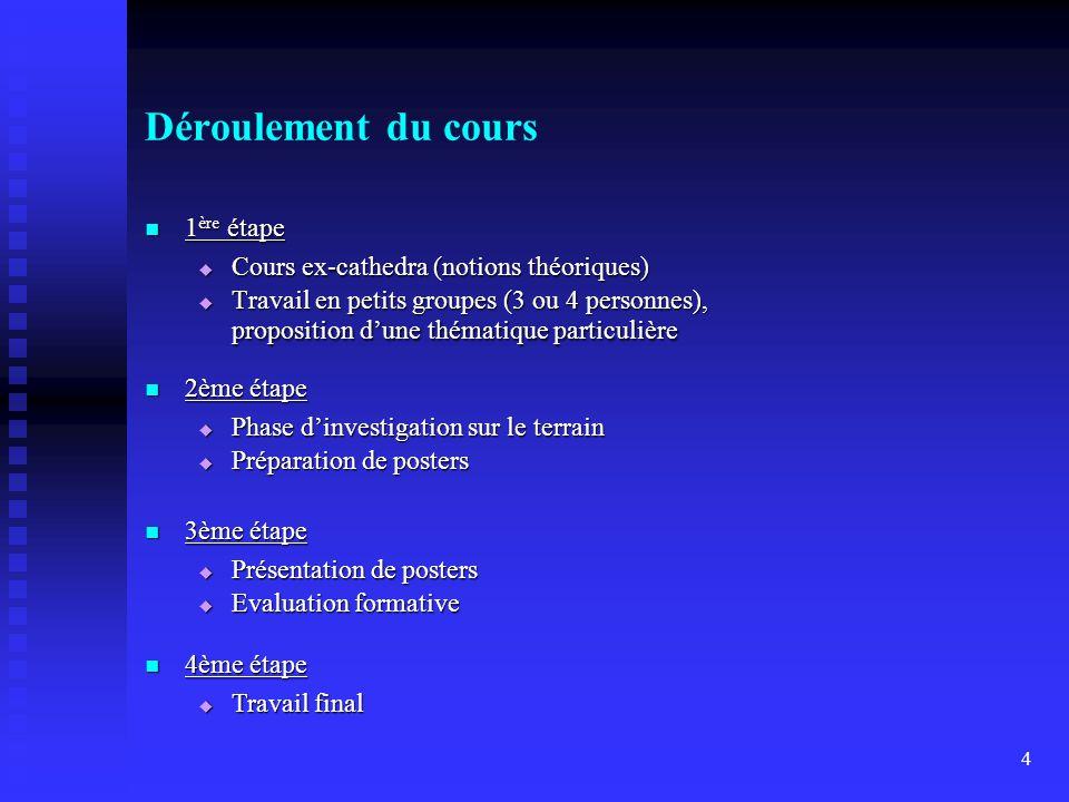 Déroulement du cours 1ère étape Cours ex-cathedra (notions théoriques)