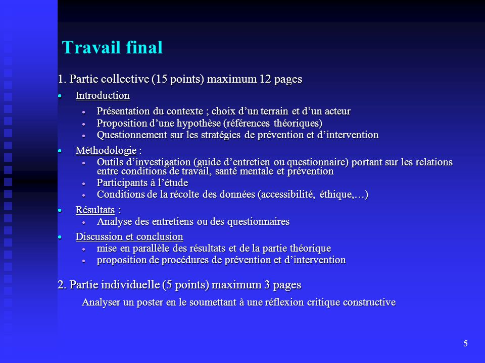Travail final 1. Partie collective (15 points) maximum 12 pages