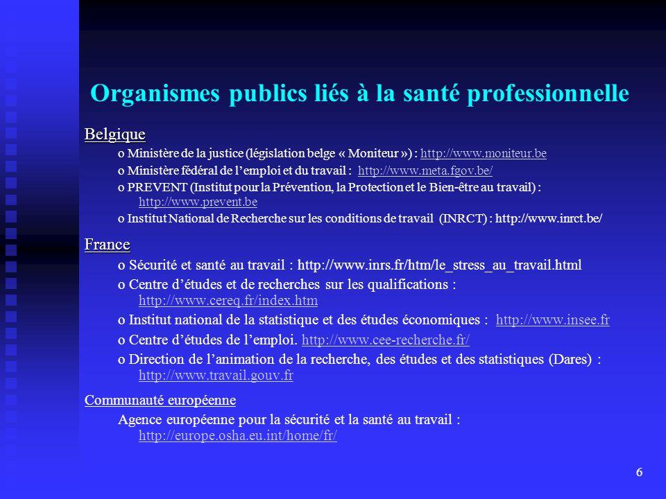 Organismes publics liés à la santé professionnelle