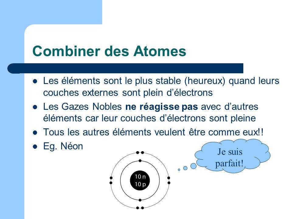 Combiner des AtomesLes éléments sont le plus stable (heureux) quand leurs couches externes sont plein d'électrons.