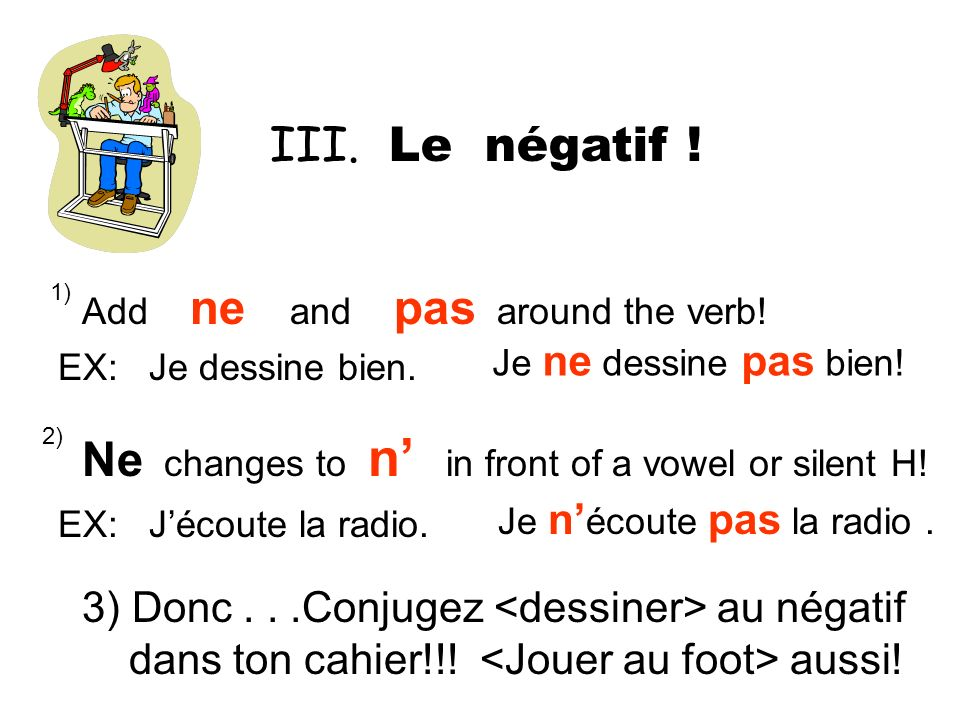 Ne changes to n' in front of a vowel or silent H!