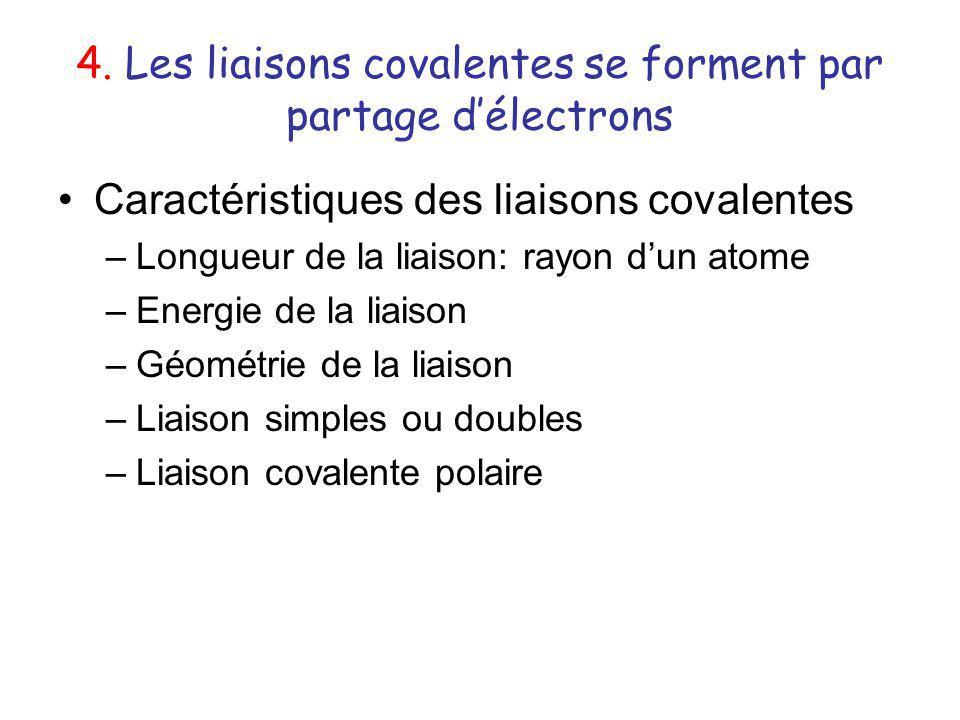 4. Les liaisons covalentes se forment par partage d'électrons