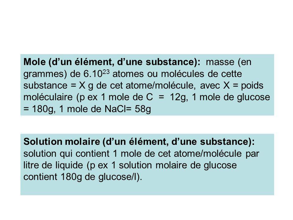 Mole (d'un élément, d'une substance): masse (en grammes) de 6