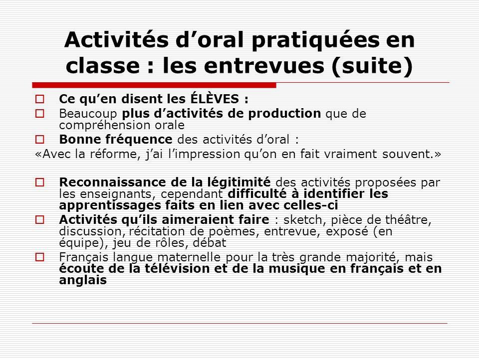 Activités d'oral pratiquées en classe : les entrevues (suite)
