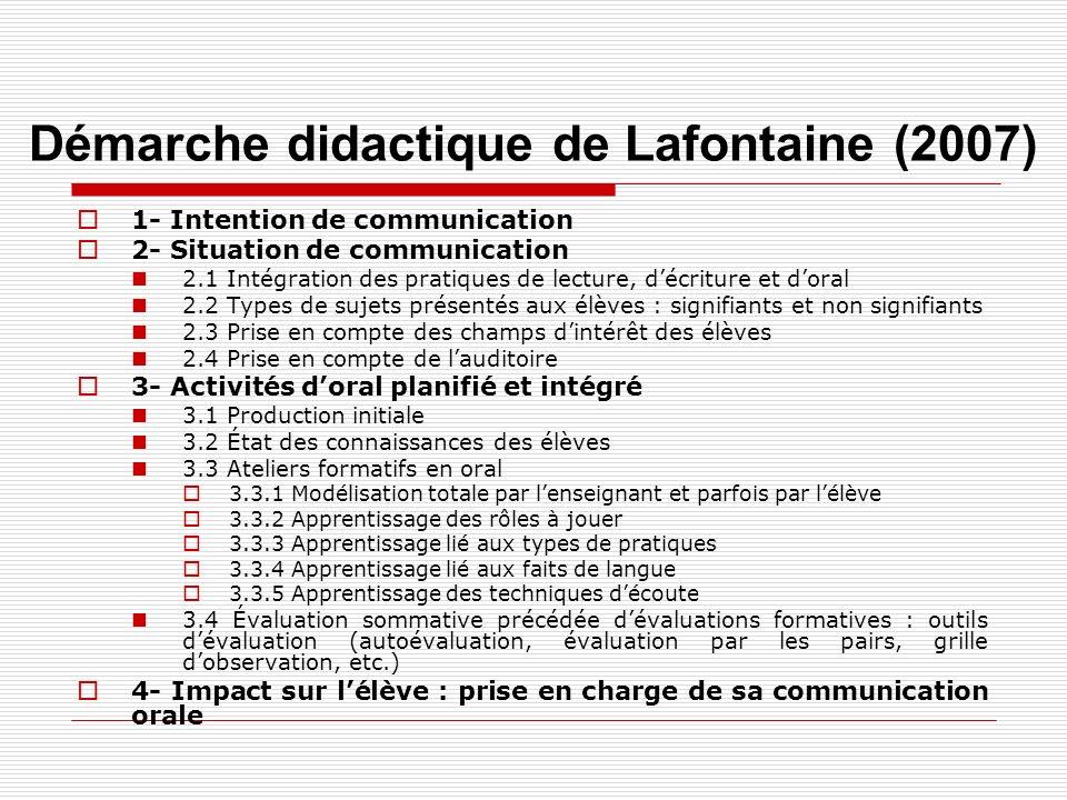 Démarche didactique de Lafontaine (2007)