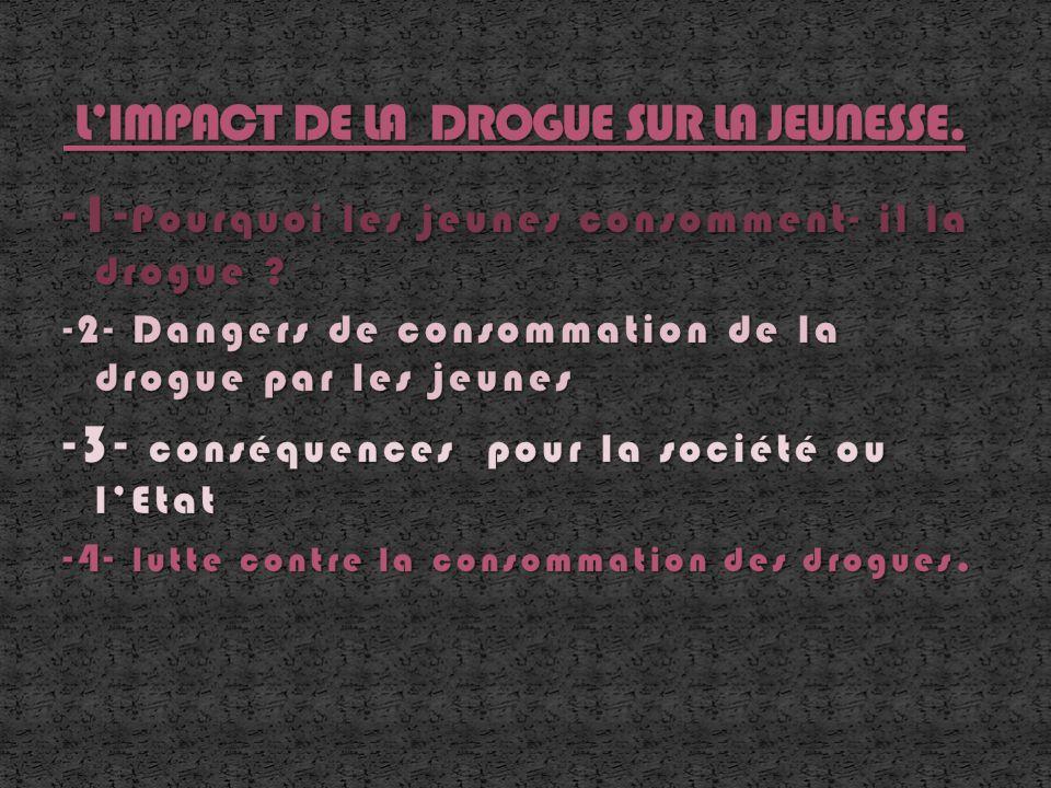 L'IMPACT DE LA DROGUE SUR LA JEUNESSE.