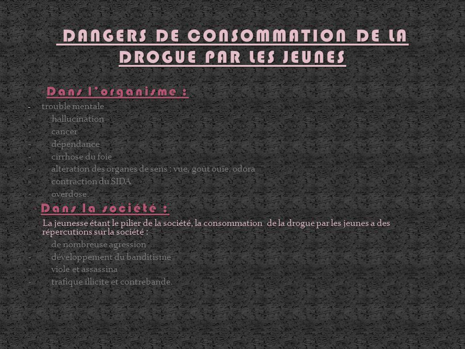 DANGERS DE CONSOMMATION DE LA DROGUE PAR LES JEUNES