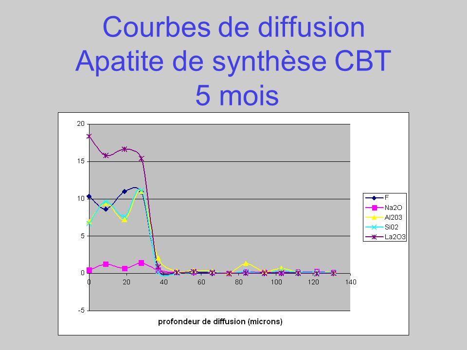 Courbes de diffusion Apatite de synthèse CBT 5 mois