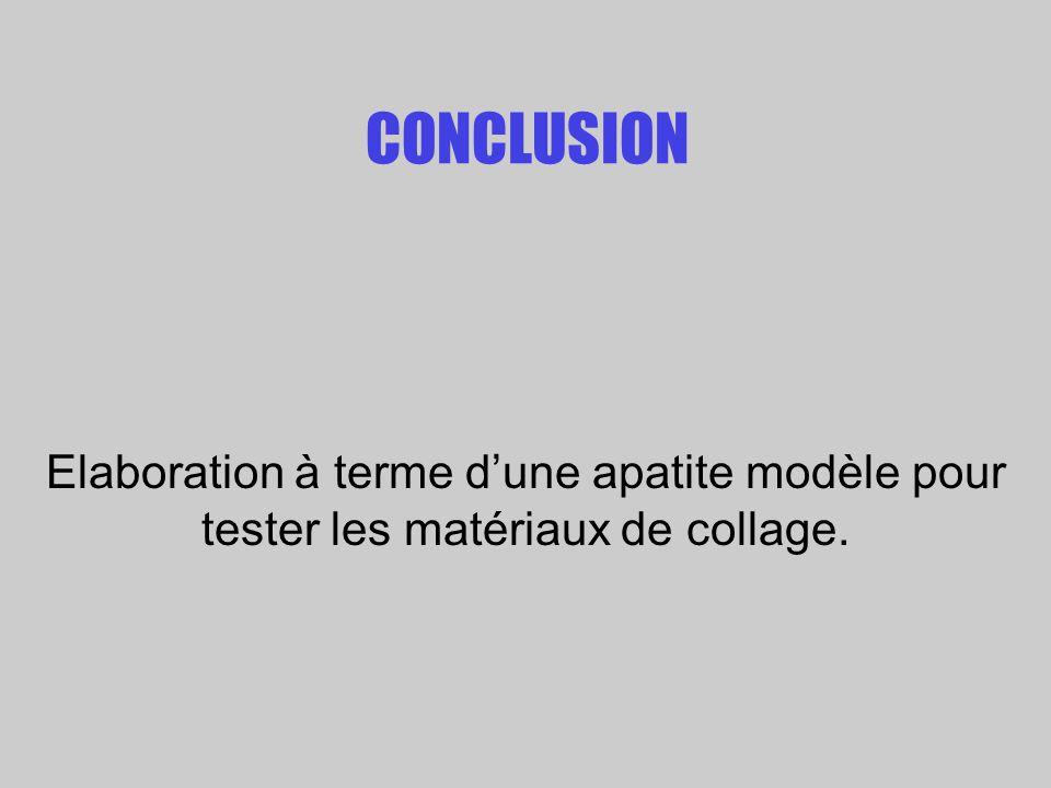 CONCLUSION Elaboration à terme d'une apatite modèle pour tester les matériaux de collage.
