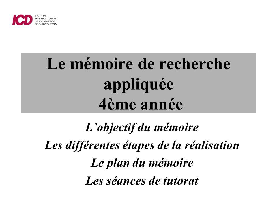 Le mémoire de recherche appliquée 4ème année