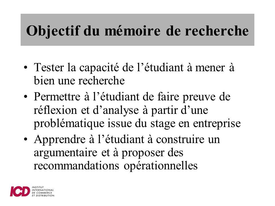 Objectif du mémoire de recherche
