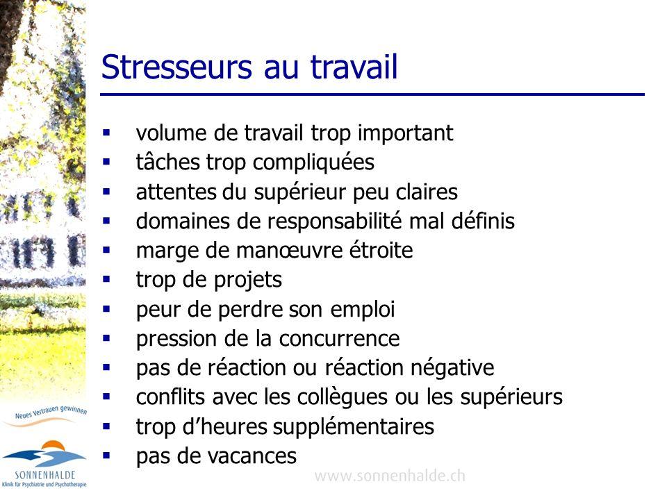 Stresseurs au travail volume de travail trop important