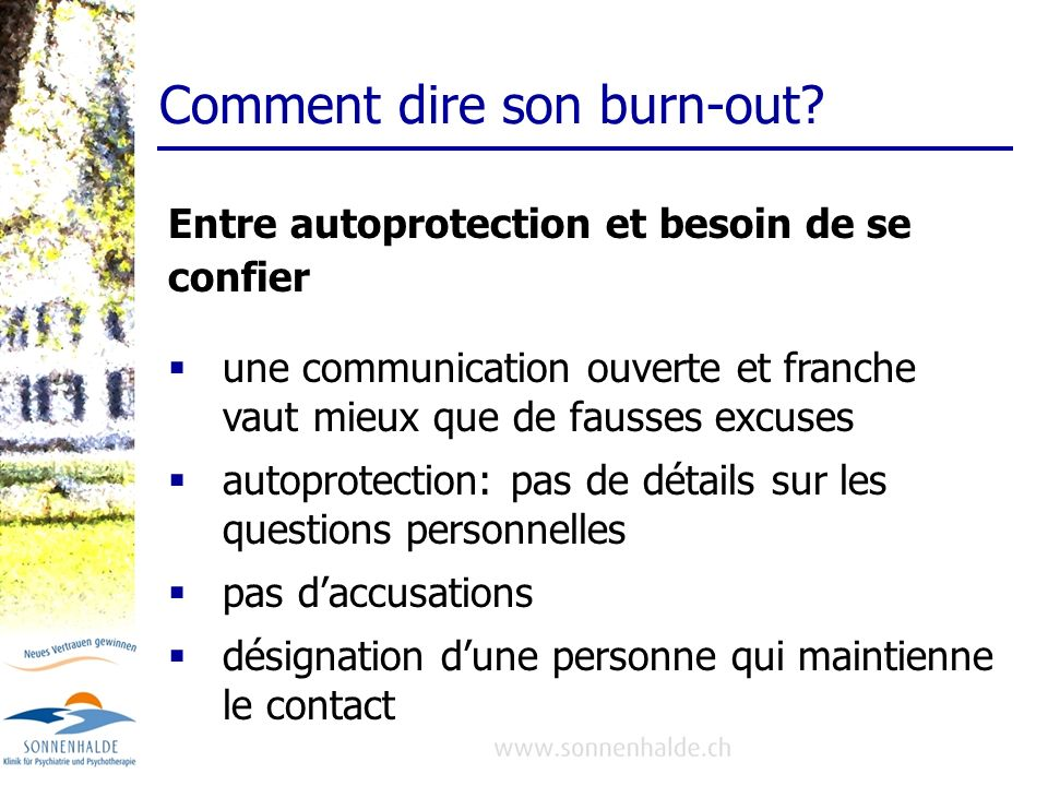 Comment dire son burn-out