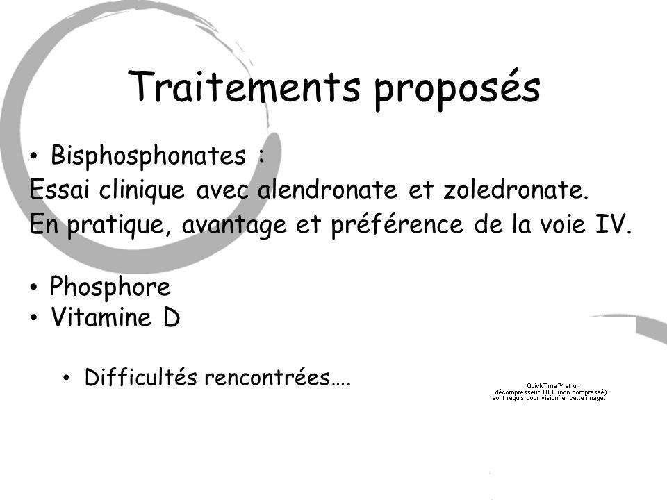 Traitements proposés Bisphosphonates :