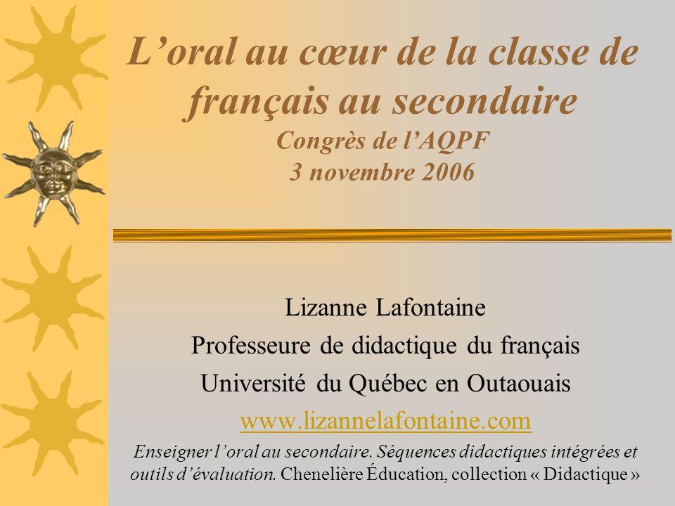 L'oral au cœur de la classe de français au secondaire Congrès de l'AQPF 3 novembre 2006