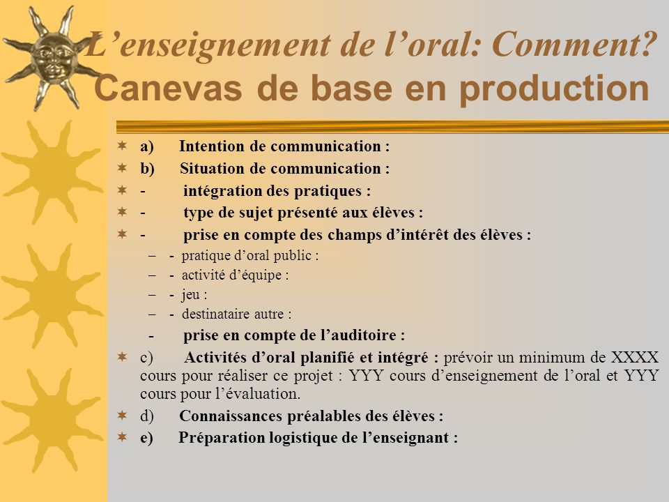 L'enseignement de l'oral: Comment Canevas de base en production