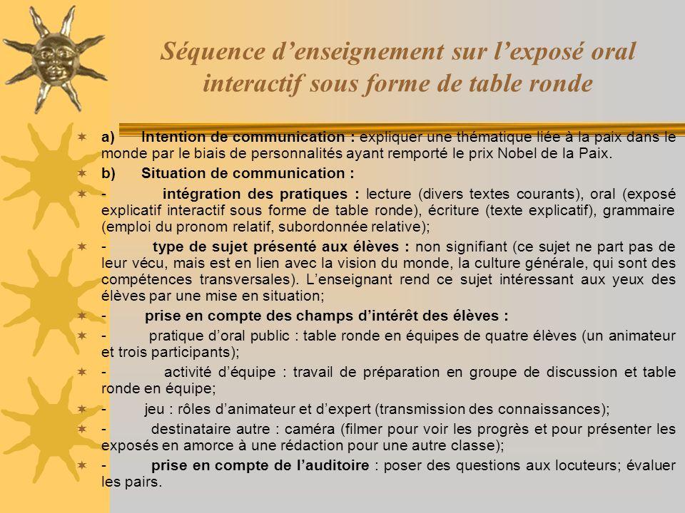 Séquence d'enseignement sur l'exposé oral interactif sous forme de table ronde