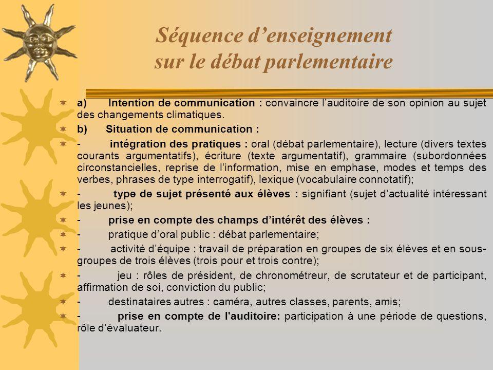 Séquence d'enseignement sur le débat parlementaire