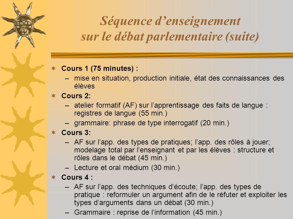 Séquence d'enseignement sur le débat parlementaire (suite)