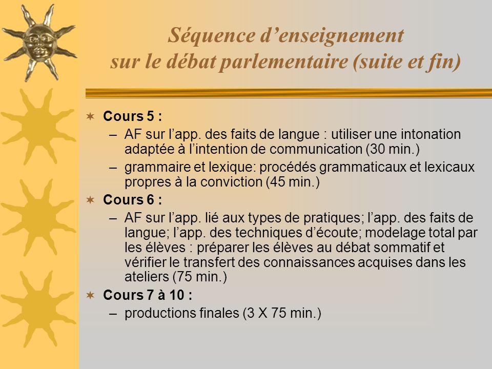Séquence d'enseignement sur le débat parlementaire (suite et fin)