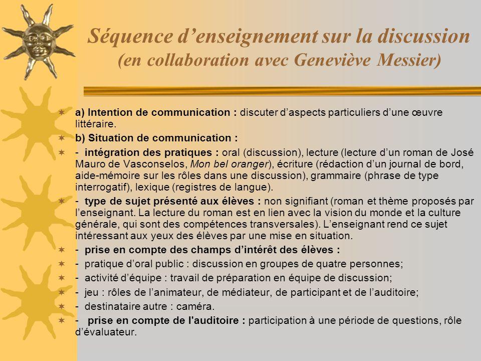 Séquence d'enseignement sur la discussion (en collaboration avec Geneviève Messier)