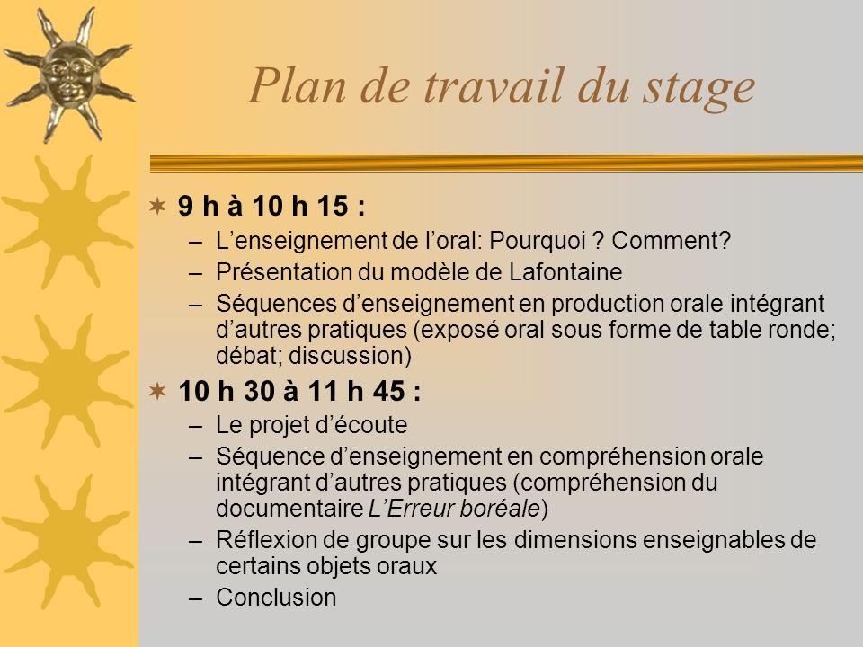 Plan de travail du stage