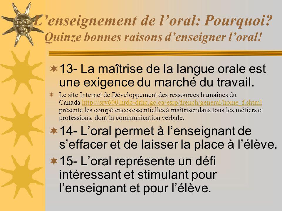 L'enseignement de l'oral: Pourquoi