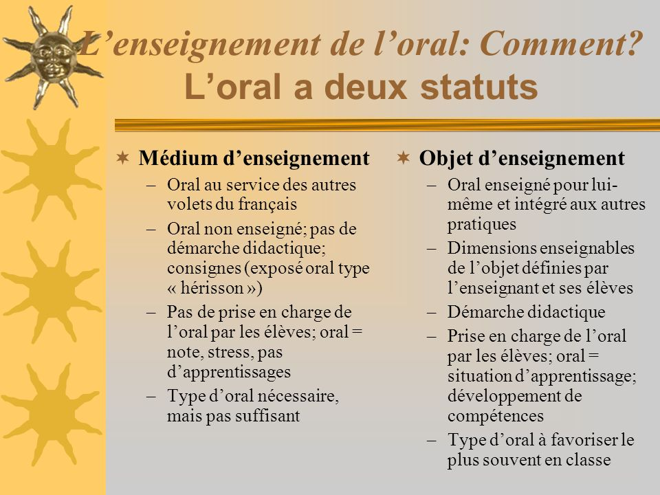 L'enseignement de l'oral: Comment L'oral a deux statuts