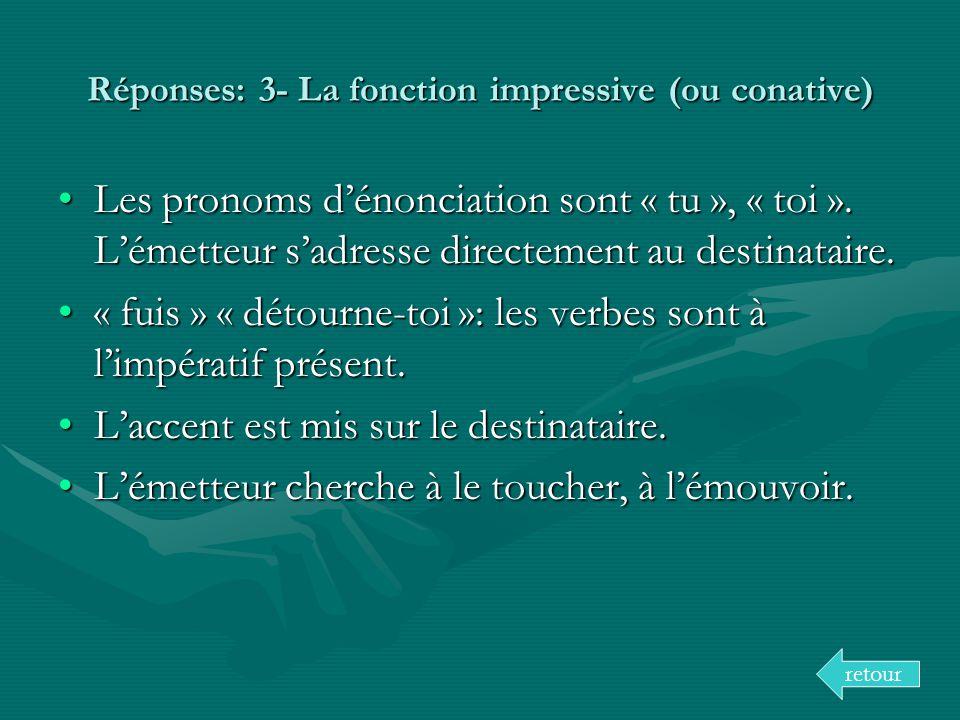Réponses: 3- La fonction impressive (ou conative)