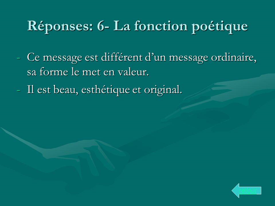 Réponses: 6- La fonction poétique
