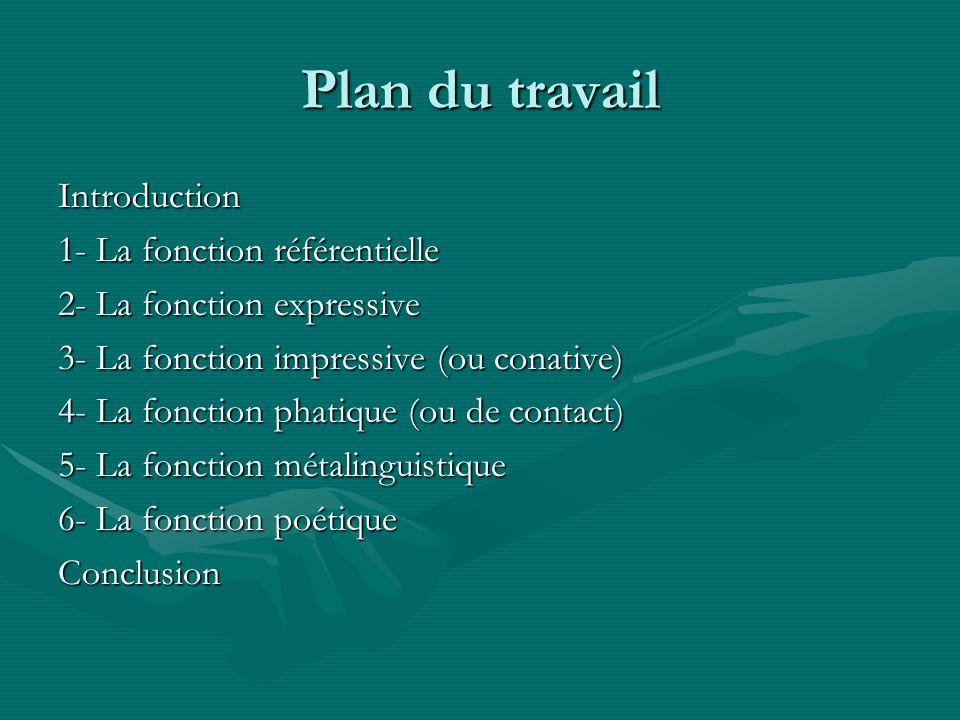 Plan du travail Introduction 1- La fonction référentielle