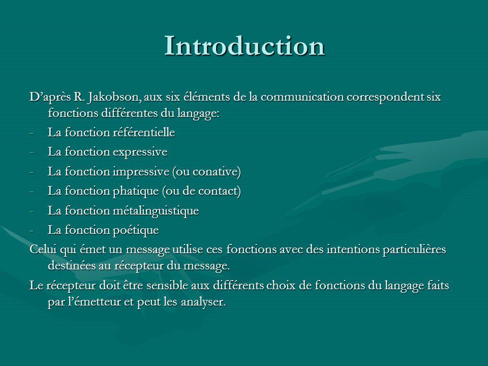 Introduction D'après R. Jakobson, aux six éléments de la communication correspondent six fonctions différentes du langage: