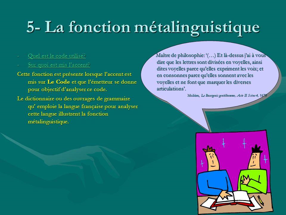 5- La fonction métalinguistique