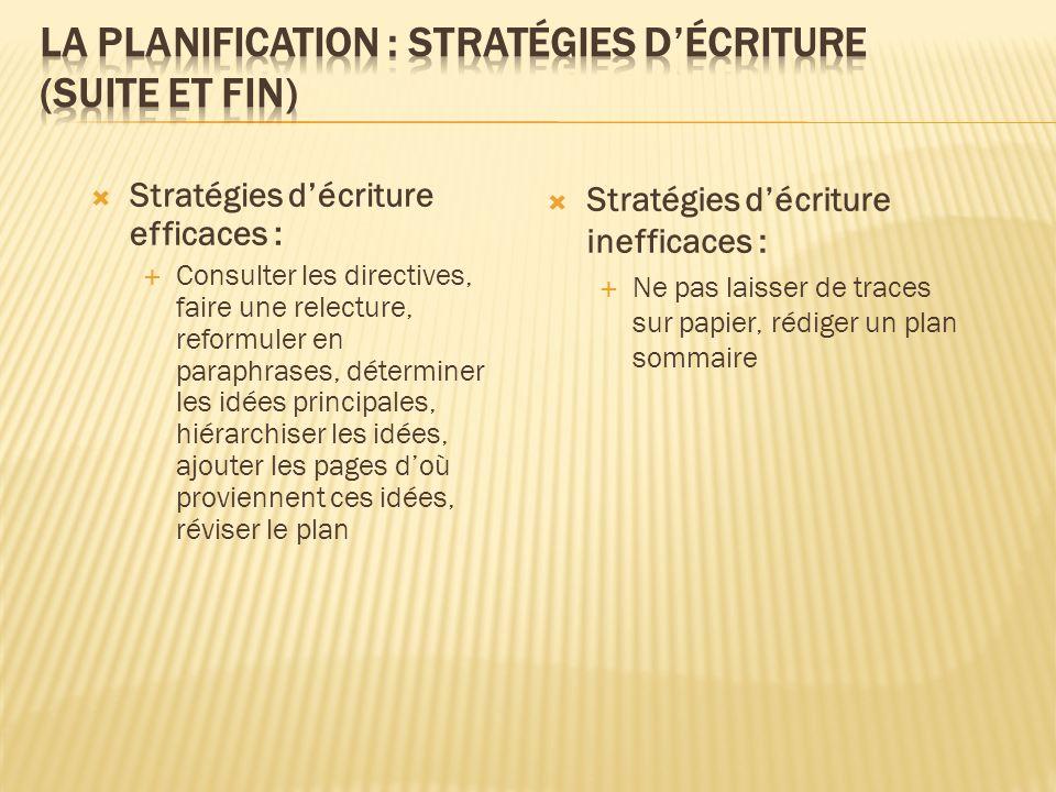 La planification : stratégies d'écriture (suite et fin)