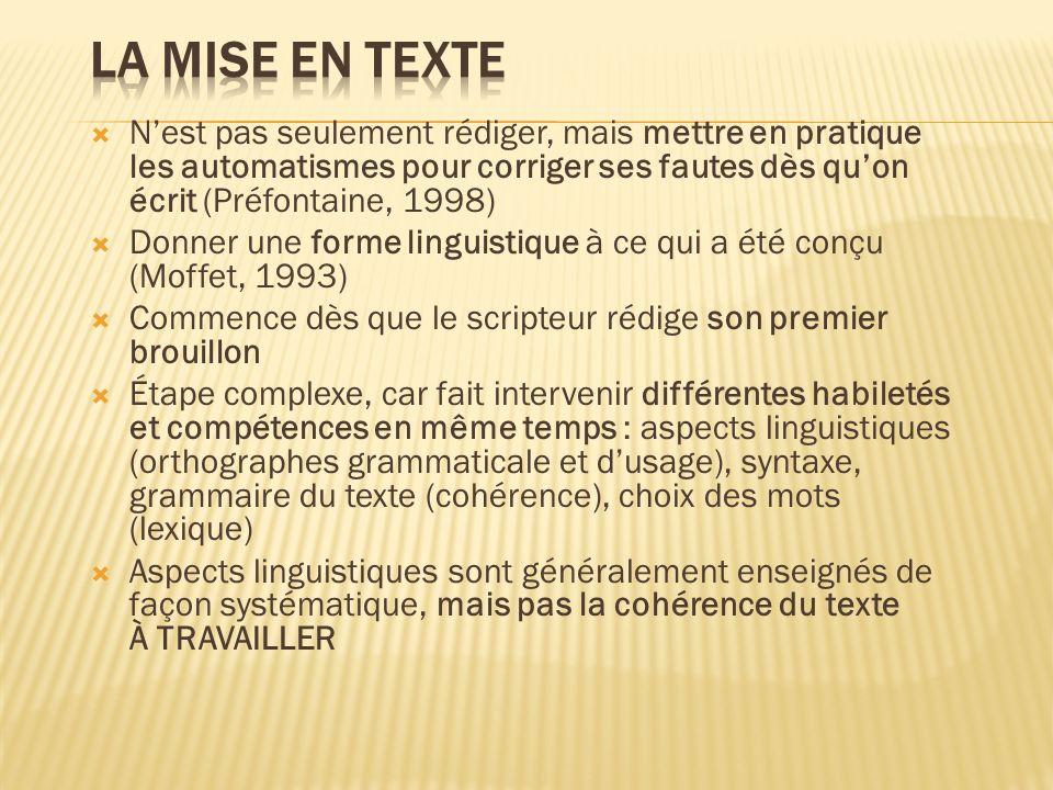 La mise en texte N'est pas seulement rédiger, mais mettre en pratique les automatismes pour corriger ses fautes dès qu'on écrit (Préfontaine, 1998)