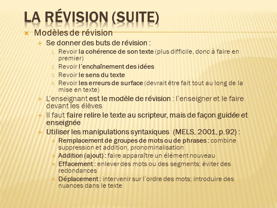 La révision (suite) Modèles de révision