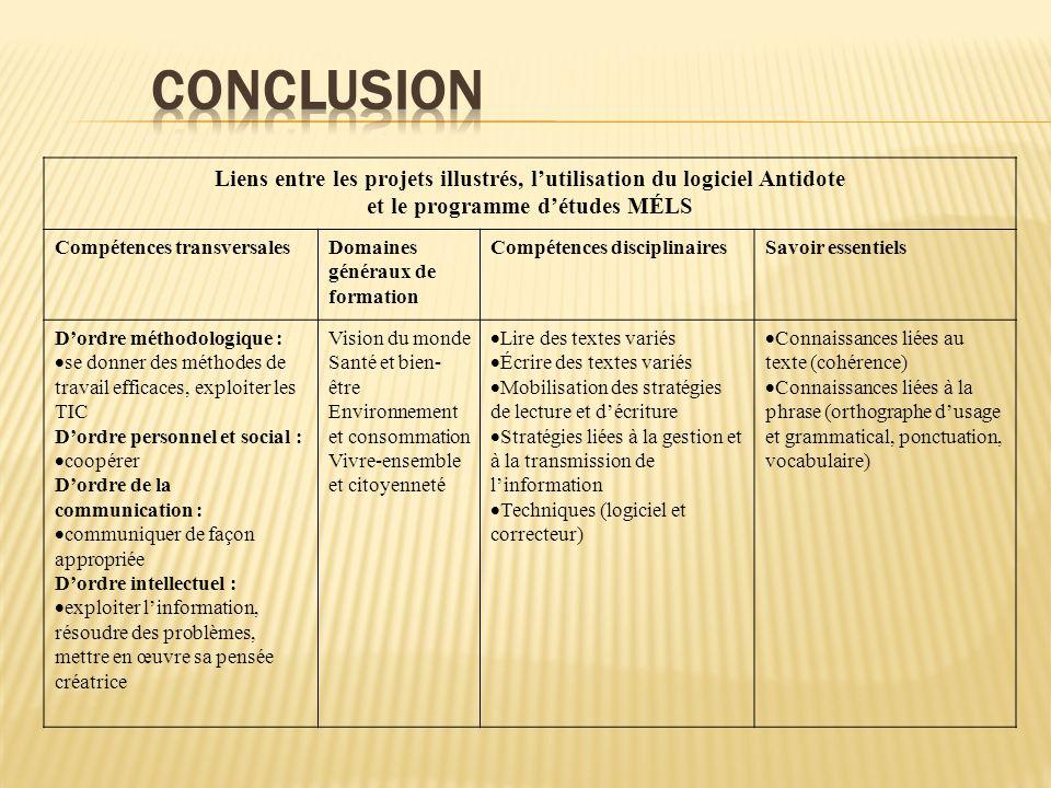 Conclusion Liens entre les projets illustrés, l'utilisation du logiciel Antidote. et le programme d'études MÉLS.