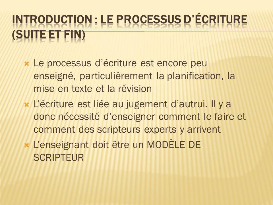 Introduction : le processus d'écriture (suite et fin)