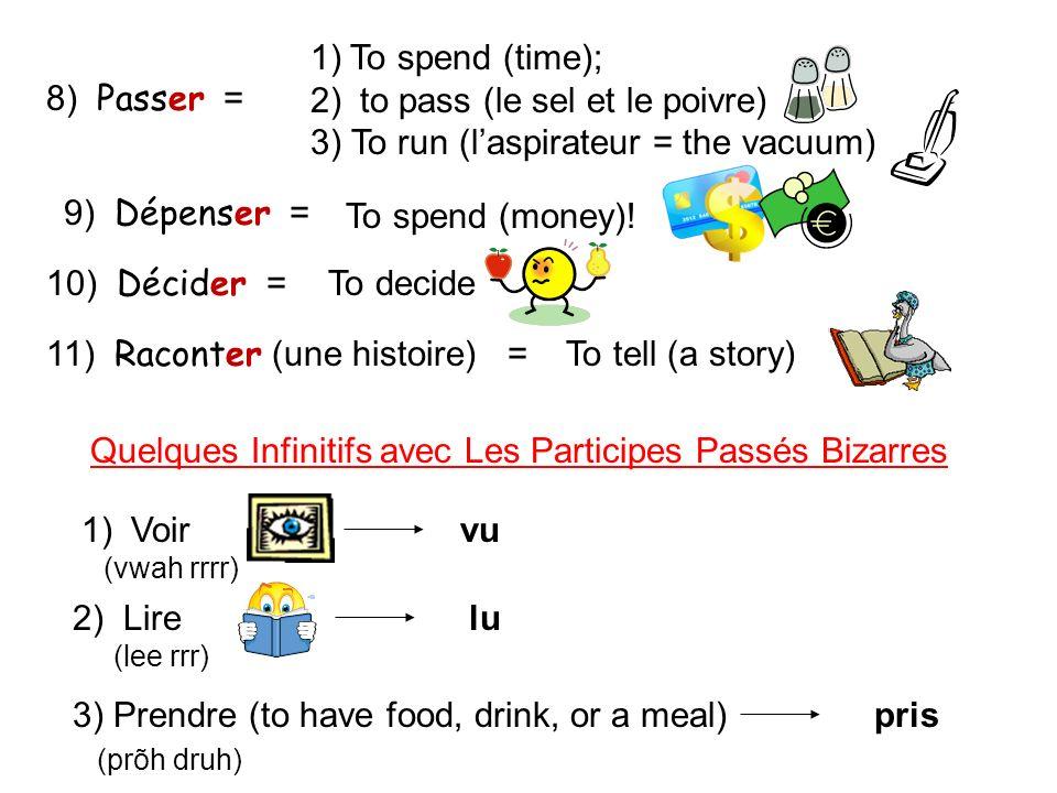to pass (le sel et le poivre) 3) To run (l'aspirateur = the vacuum)