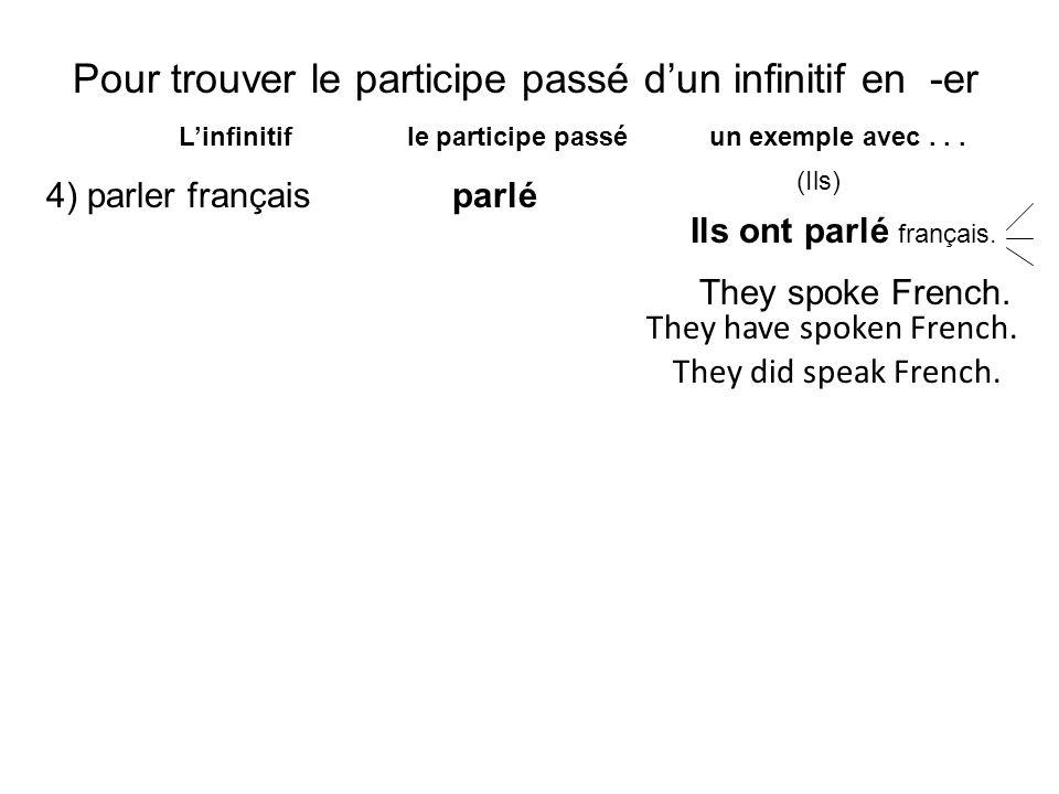 Pour trouver le participe passé d'un infinitif en -er