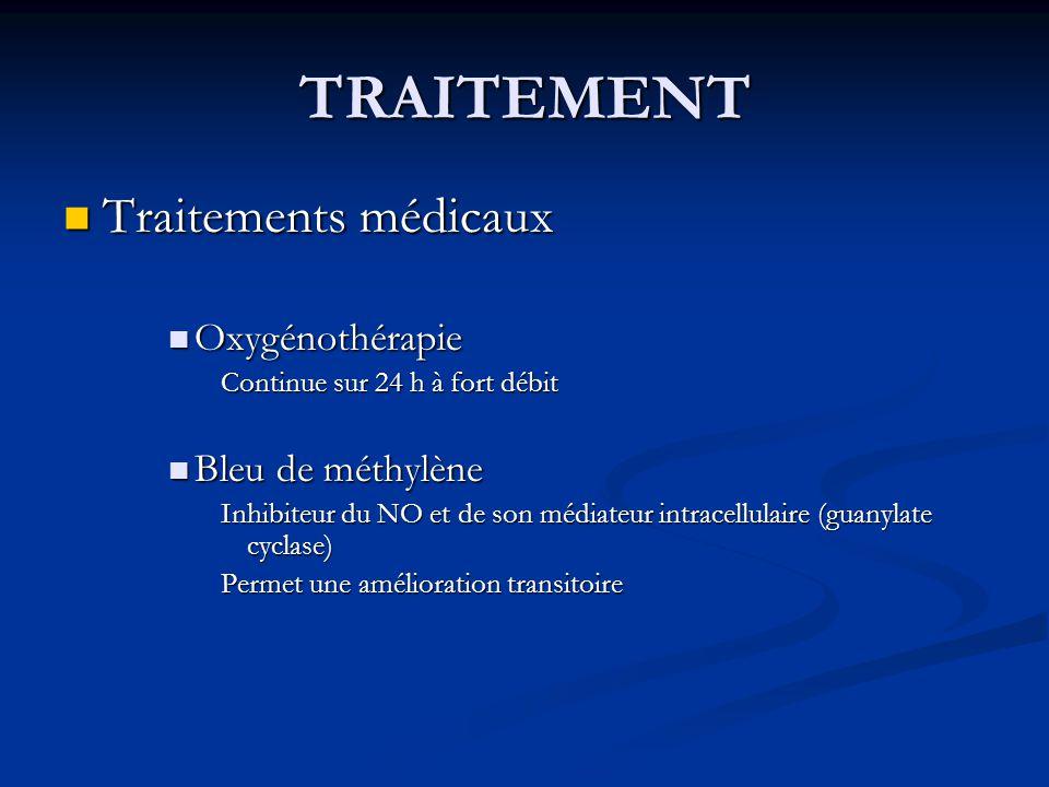 TRAITEMENT Traitements médicaux Oxygénothérapie Bleu de méthylène