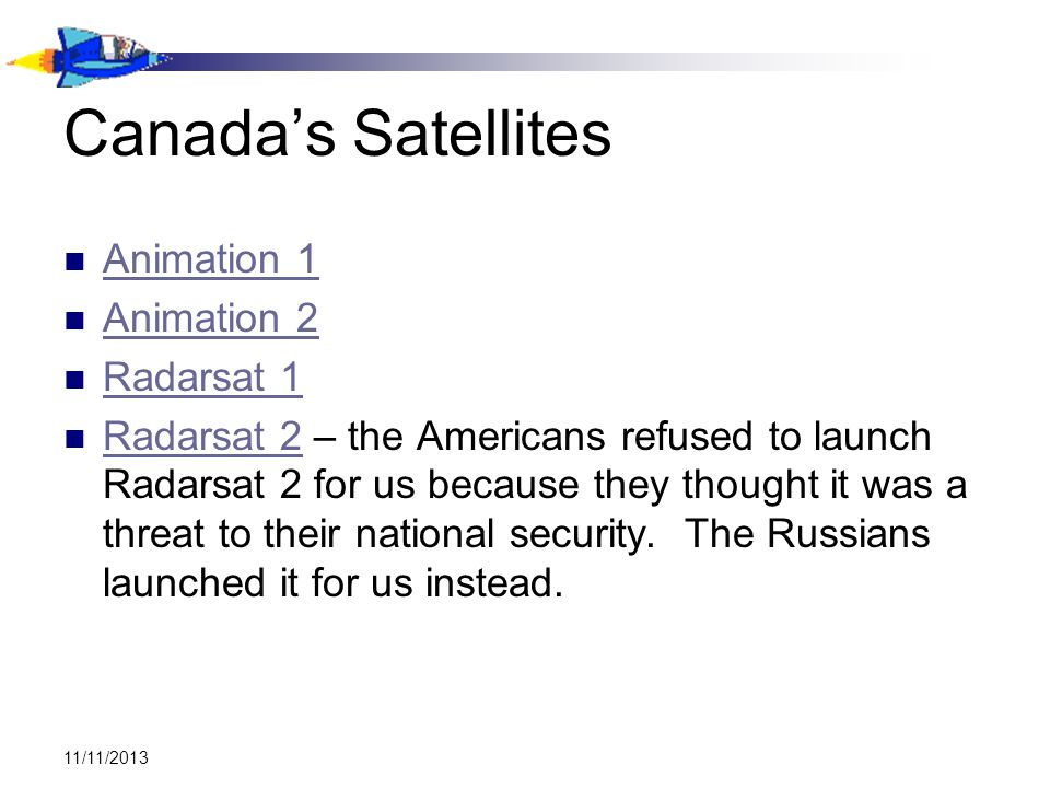 Canada's Satellites Animation 1 Animation 2 Radarsat 1