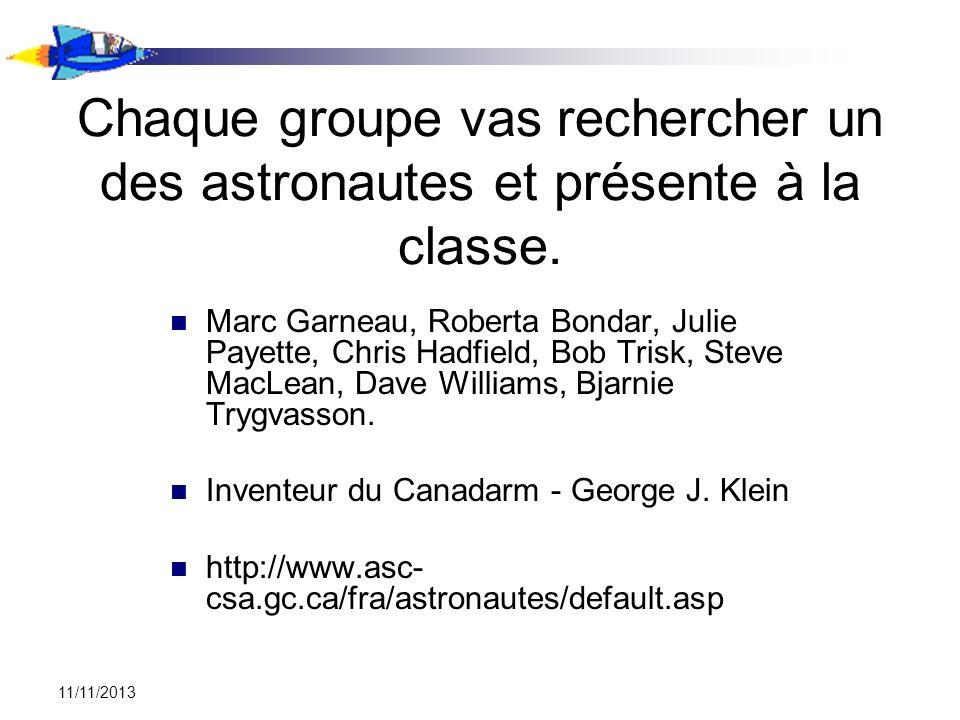 Chaque groupe vas rechercher un des astronautes et présente à la classe.