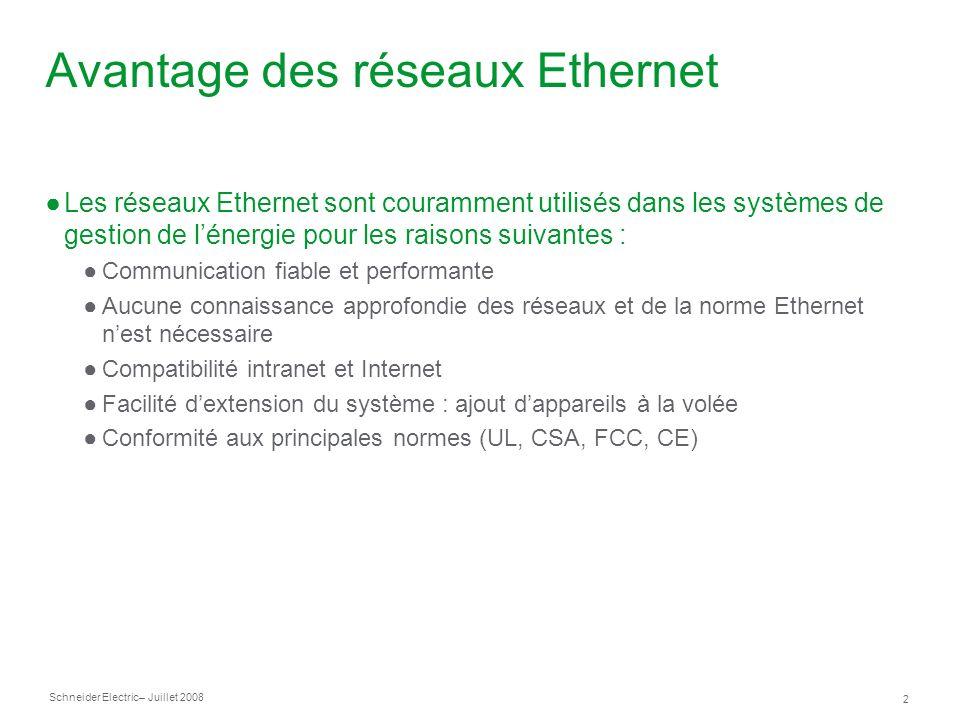 Avantage des réseaux Ethernet