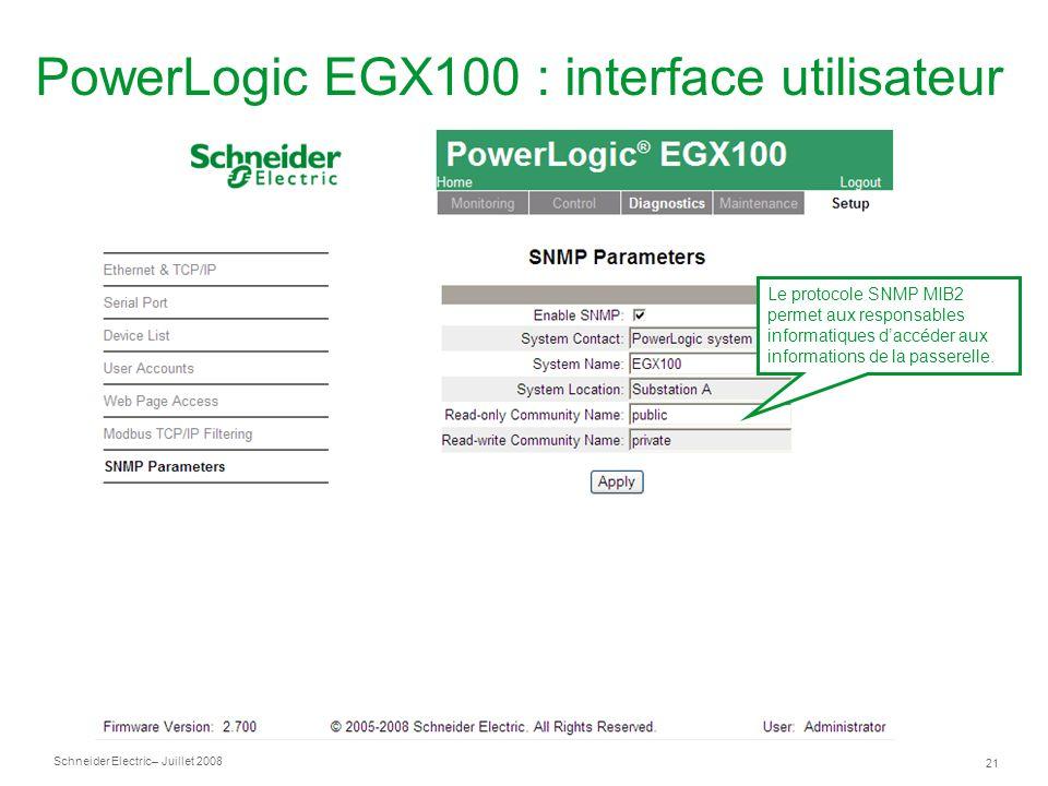 PowerLogic EGX100 : interface utilisateur
