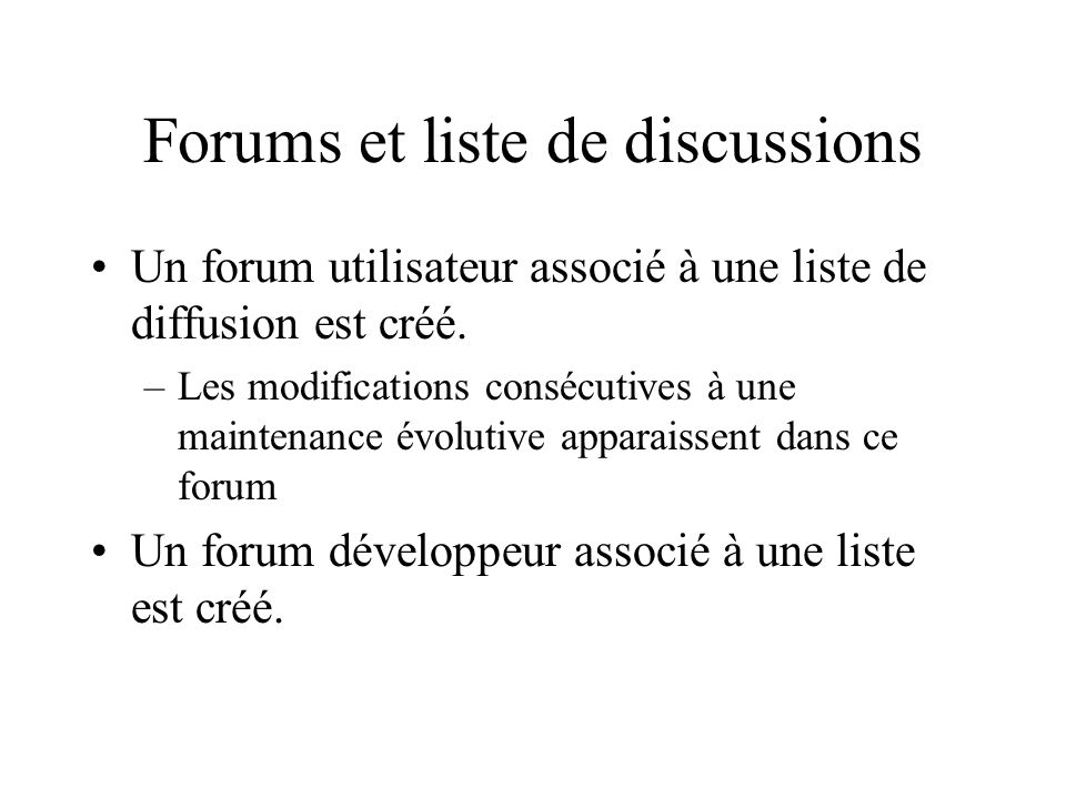 Forums et liste de discussions