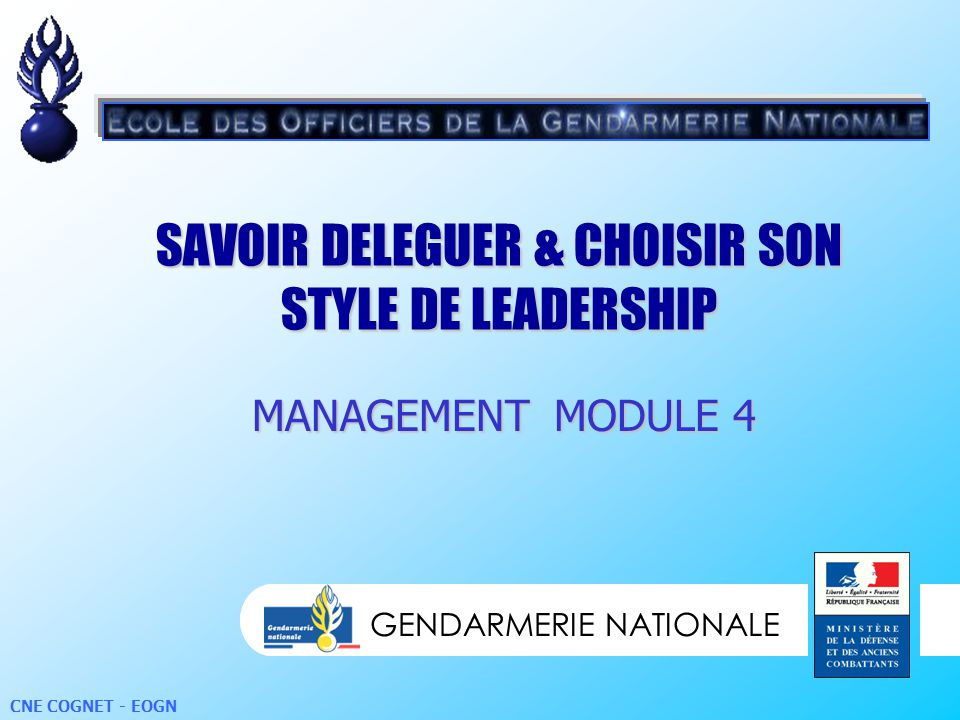 SAVOIR DELEGUER & CHOISIR SON STYLE DE LEADERSHIP