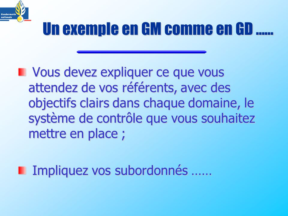 Un exemple en GM comme en GD ……
